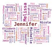 Word Cloud Women's Names stock illustration