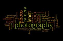 Word cloud of Photography. Word cloud of the word photography; background concept of photo Stock Photos