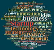 Word cloud with the word Startup. Stock Photo