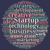 Word cloud with the word Startup. Stock Images