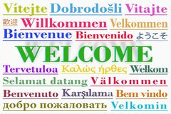 Word cloud with the word Welcome written in multiple languages stock illustration
