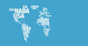Word cloud of world map in 4k resolution Stock Images