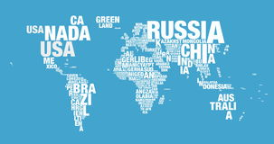 Word cloud of world map in 4k resolution stock video footage