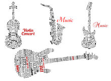 Word Clouds And Notes In Shape Of Guitars, Violin Stock Images