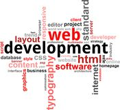 Word clouod - web development Royalty Free Stock Photo