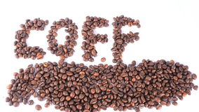 Word coffe made of beans stock footage