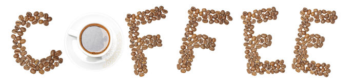 Word COFFEE arranged from coffee beans and mug Stock Photography