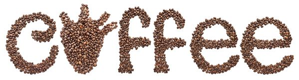 Word coffee beans isolated background. text Heart organ instead of the letter O royalty free stock photos