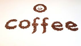 Word with Coffee Beans Royalty Free Stock Photos