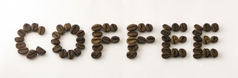 Word of coffee beans Stock Photos