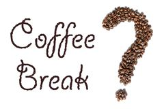 Word `Coffee Break` and shape of a question mark made of roasted espresso coffee beans Stock Photo