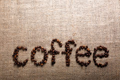 Word COFFEE from coffee beans Stock Photography