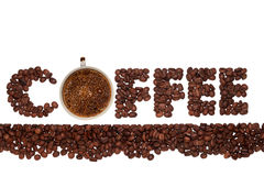 The word coffee from coffee beans with a cup fragrant hot coffee Royalty Free Stock Image