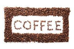 Word coffee in frame, roasted beans over white background Stock Photography