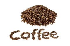 Word coffee with heap of coffee beans Royalty Free Stock Images