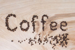 Word coffee laid out from grains on a wooden background Royalty Free Stock Photo