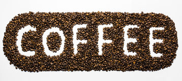 The word Coffee. Made from coffee beans Stock Images