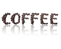 Word coffee made from coffee beans. Isolated on White background royalty free stock images