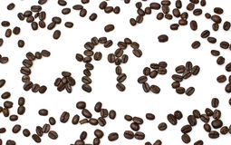 The word of coffee is made of coffee beans Stock Image