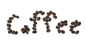 The word of coffee is made of coffee beans Royalty Free Stock Images
