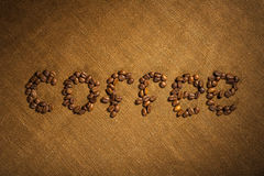Word coffee made from coffee beans Stock Image