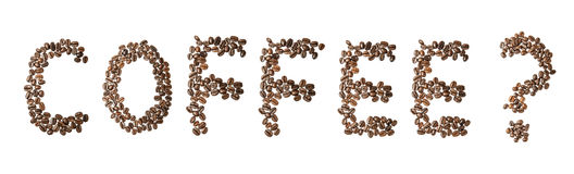 A word coffee made of coffee beans Royalty Free Stock Photography
