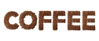 Word coffee made of roasted and green coffee beans isolated on white background. stock image