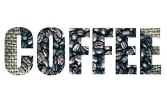 Word COFFEE over coffee beans on sackcloth background. Toned Royalty Free Stock Photo