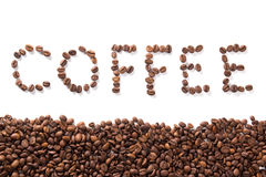 Word coffee, roasted beans over white background Stock Photo