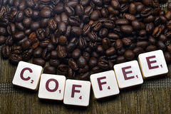 Word Coffee Rustic Background Royalty Free Stock Photos