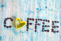 The word Coffee spelled with coffee beans Stock Photo