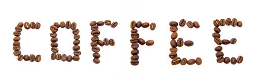 Word coffee spelled with fried coffee beans Stock Photos