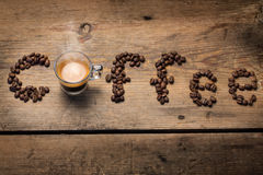 The word coffee spelled out with coffee beans Stock Image