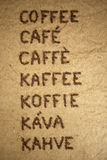 Word coffee in various languages Royalty Free Stock Photos