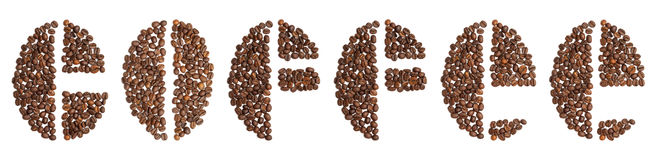 Word coffee written in coffee beans typeface. On white background Royalty Free Stock Photography