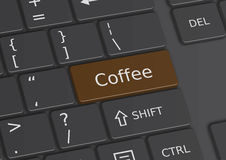 The word Coffee written on the keyboard. The word Coffee written on a brown key from the keyboard Royalty Free Stock Images