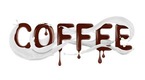 Word Coffee written with liquid chocolate with milk splashes. Isolated on a white background Stock Photo