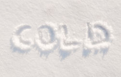 Word cold written in snow Stock Image