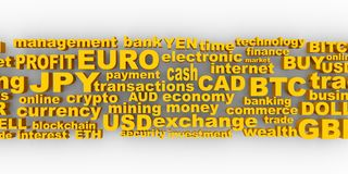 Stock exchange background. Word collage relative to trading. Illustration with different association terms. 3D rendering Stock Image
