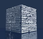 Stock exchange background. Word collage relative to trading. Illustration with different association terms. 3D rendering Stock Photos