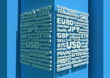 Stock exchange background. Word collage relative to trading. Illustration with different association terms. 3D rendering Royalty Free Stock Photos