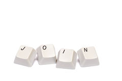 Word collected from computer keypad buttons join isolated Stock Photo