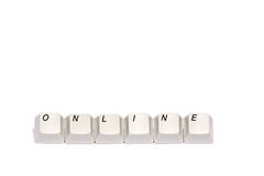 Word collected from computer keypad buttons online isolated Stock Photography
