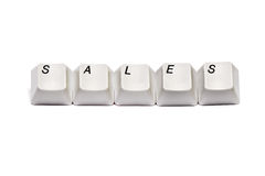 Word collected from computer keypad buttons sales isolated Stock Image