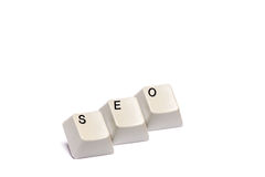 Word collected from computer keypad buttons SEO isolated Royalty Free Stock Image