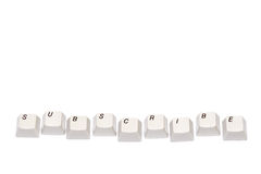 Word collected from computer keypad buttons subscribe isolated Stock Photos