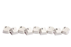 Word collected from computer keypad buttons subscribe isolated Royalty Free Stock Images