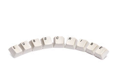 Word collected from computer keypad buttons subscribe isolated Stock Images