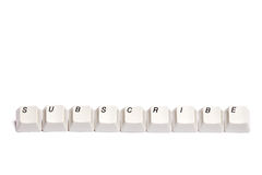 Word collected from computer keypad buttons subscribe isolated Stock Photography