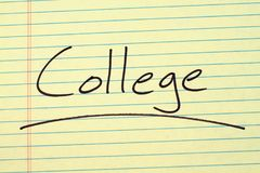 College On A Yellow Legal Pad Stock Photography